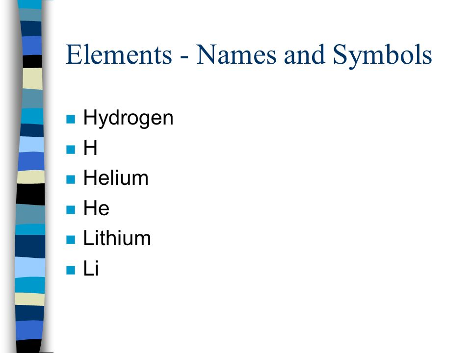 Elements - Names and Symbols n Hydrogen nHnH n Helium n He n Lithium n Li