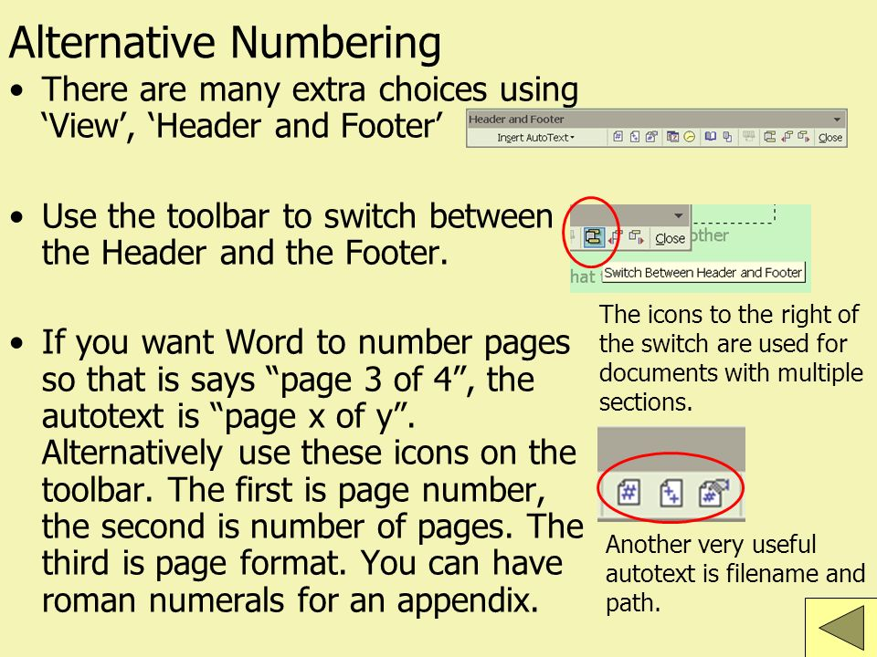 Alternative Numbering There are many extra choices using View, Header and Footer Use the toolbar to switch between the Header and the Footer.