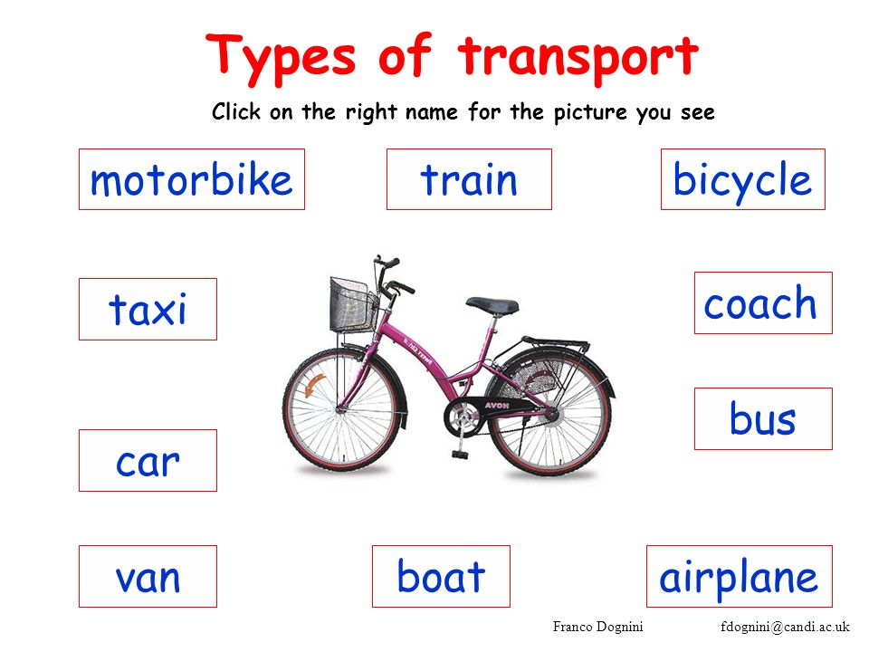 Franco Dognini fdognini@candi.ac.uk coach Types of transport Click on the right name for the picture you see bus taxi car motorbike vanairplaneboat bicycletrain
