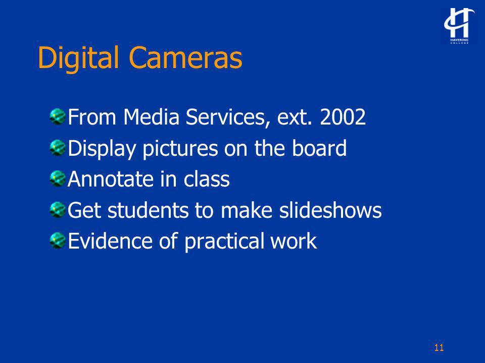 11 Digital Cameras From Media Services, ext.