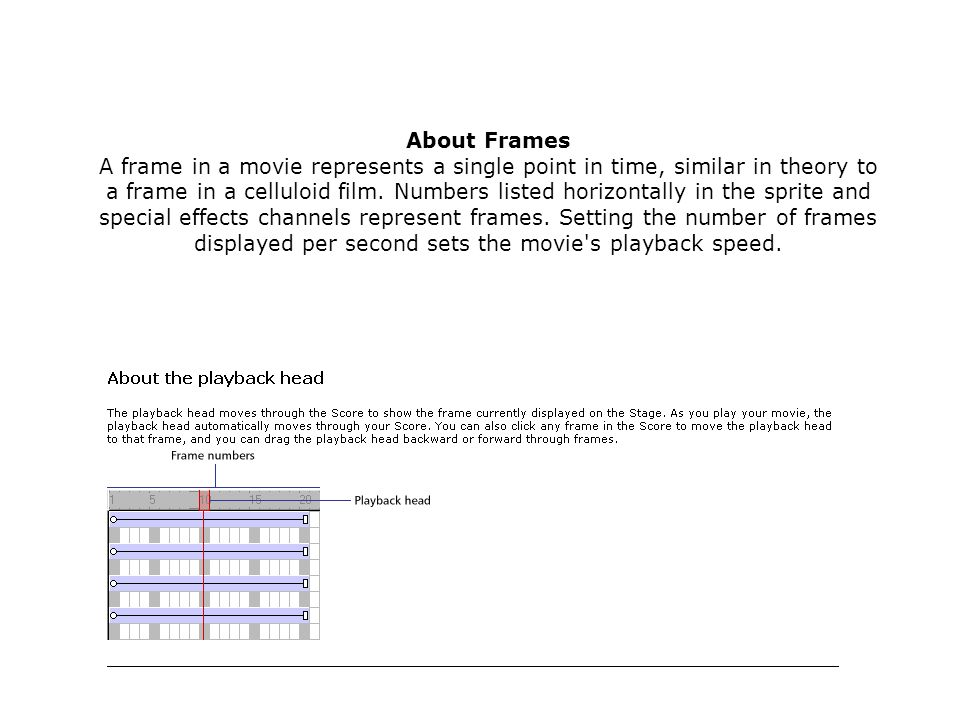 About Frames A frame in a movie represents a single point in time, similar in theory to a frame in a celluloid film.
