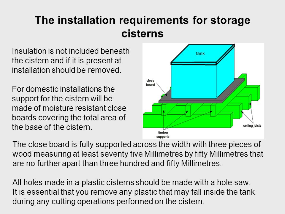 The installation requirements for storage cisterns Insulation is not included beneath the cistern and if it is present at installation should be remov