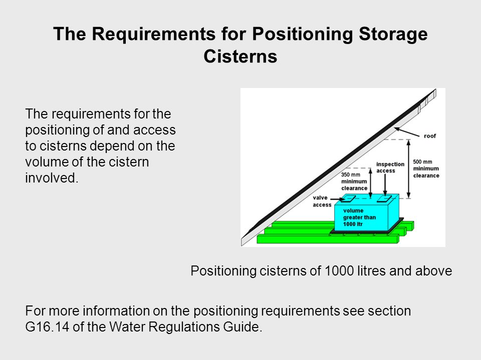 The Requirements for Positioning Storage Cisterns The requirements for the positioning of and access to cisterns depend on the volume of the cistern i