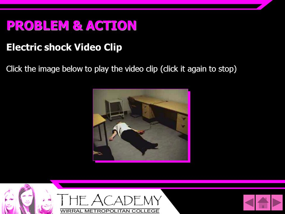 PROBLEM & ACTION Electric shock Video Clip Click the image below to play the video clip (click it again to stop)