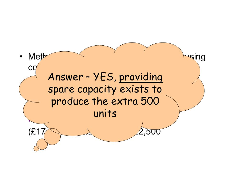 JV Videos answer Method: calculating old and new profits using contribution Total contribution – fixed costs = profit Old profit; CPU = £20 (£20 x 2000) - £20,000 = £20,000 New profit; CPU = £17 (£17 x 2500) - £20,000 = £22,500 Answer – YES, providing spare capacity exists to produce the extra 500 units