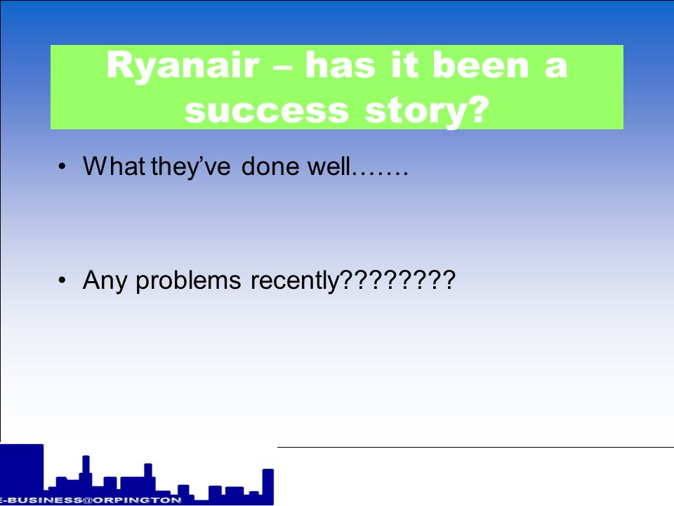 Ryanair – has it been a success story? What theyve done well……. Any problems recently????????