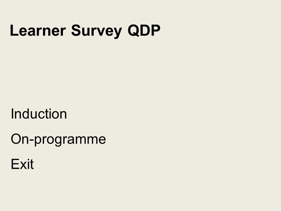 Learner Survey QDP Induction On-programme Exit