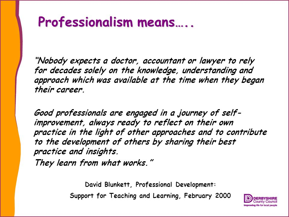 Professionalism means…..