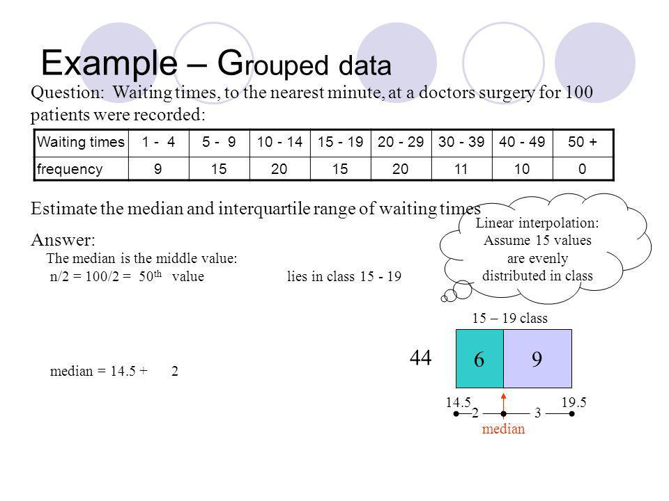 Example – G rouped data Waiting times1 - 45 - 910 - 1415 - 1920 - 2930 - 3940 - 4950 + frequency91520152011100 Question: Waiting times, to the nearest minute, at a doctors surgery for 100 patients were recorded: Answer: Estimate the median and interquartile range of waiting times The median is the middle value: n/2 = 100/2 = 50 th value median = 14.5 + 9 2 6 median 44 15 – 19 class 14.519.5 Linear interpolation: Assume 15 values are evenly distributed in class 2 3 lies in class 15 - 19