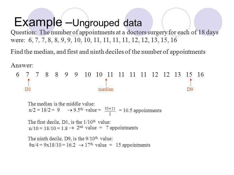 Example – Ungrouped data Question: The number of appointments at a doctors surgery for each of 18 days were: 6, 7, 7, 8, 8, 9, 9, 10, 10, 11, 11, 11, 11, 12, 12, 13, 15, 16 Find the median, and first and ninth deciles of the number of appointments The median is the middle value: n/2 = 18/2 = 9 9.5 th value = = 10.5 appointments The first decile, D1, is the 1/10 th value: n/10 = 18/10 = 1.8 7 appointments The ninth decile, D9, is the 9/10 th value: 9n/4 = 9x18/10 = 16.2 17 th value = 15 appointments 2 nd value = 6 7 7 8 8 9 9 10 10 11 11 11 11 12 12 13 15 16 Answer: D1medianD9