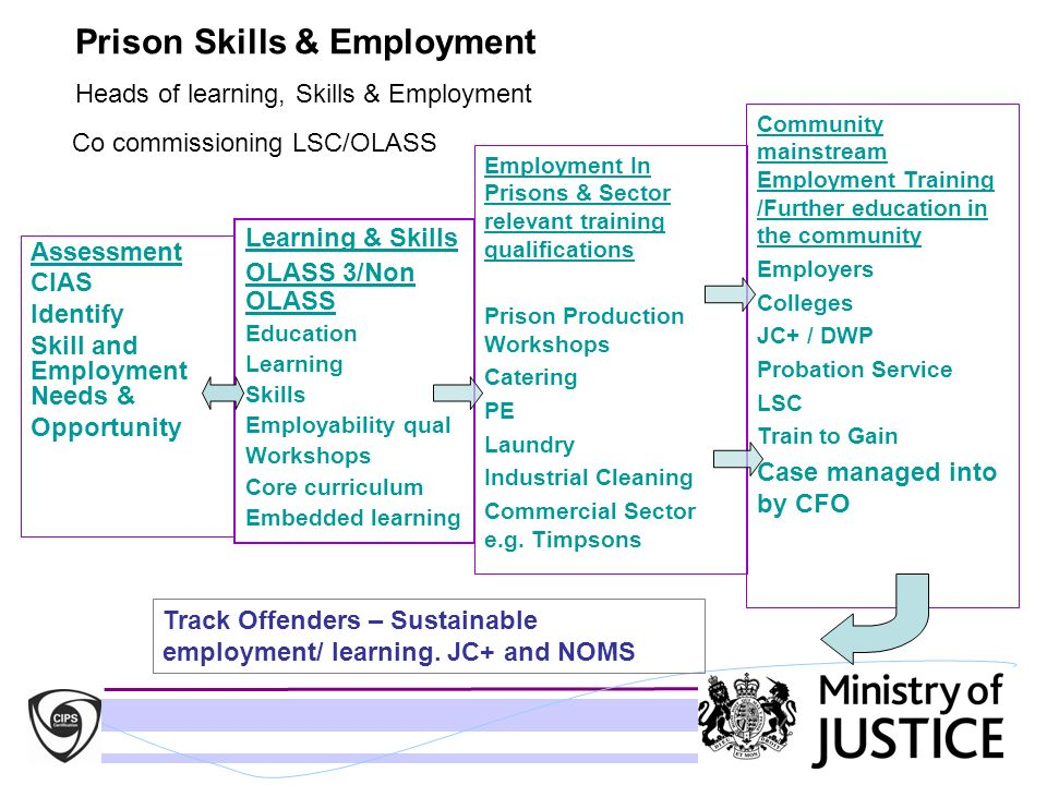 Prison Skills & Employment Heads of learning, Skills & Employment Co commissioning LSC/OLASS Assessment CIAS Identify Skill and Employment Needs & Opp