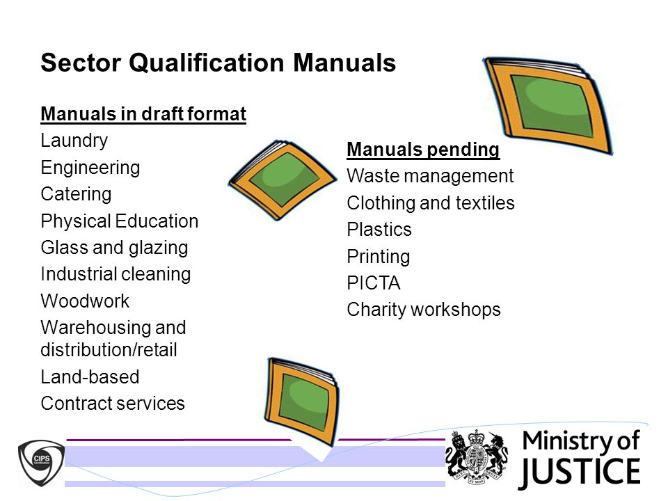 Sector Qualification Manuals Manuals in draft format Laundry Engineering Catering Physical Education Glass and glazing Industrial cleaning Woodwork Wa