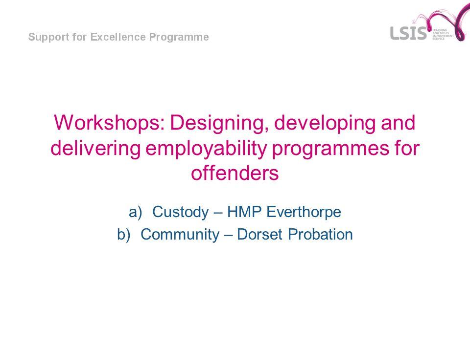 Workshops: Designing, developing and delivering employability programmes for offenders a)Custody – HMP Everthorpe b)Community – Dorset Probation