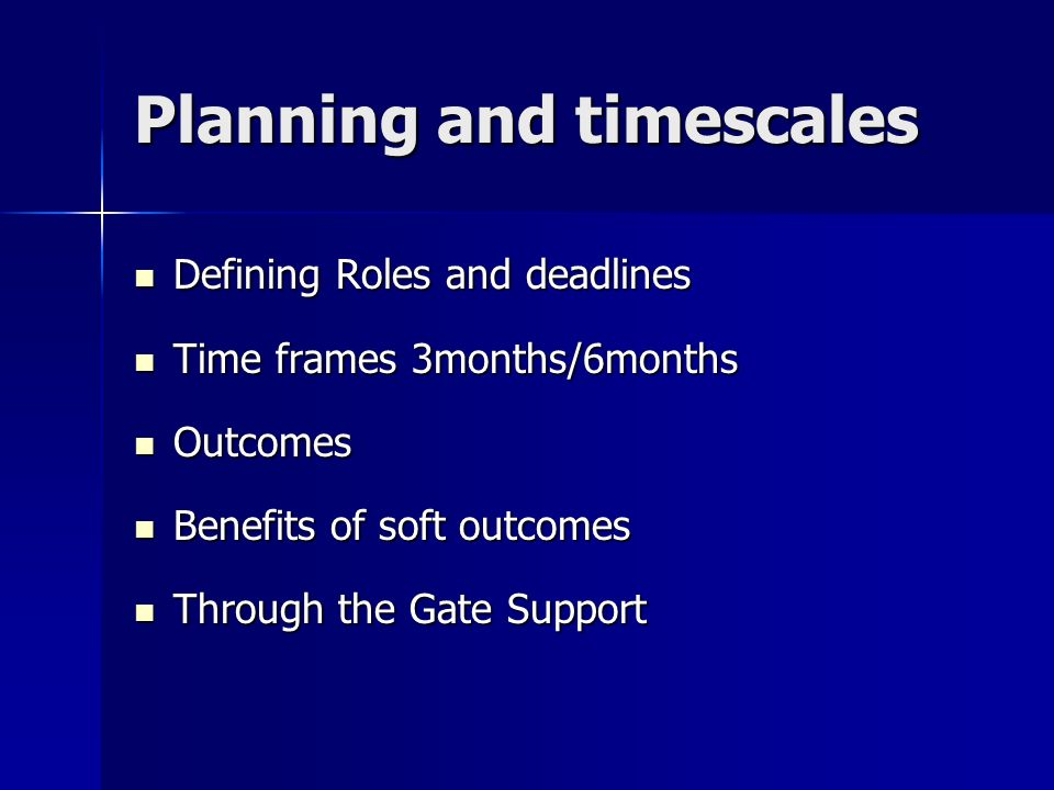 Planning and timescales Defining Roles and deadlines Defining Roles and deadlines Time frames 3months/6months Time frames 3months/6months Outcomes Out