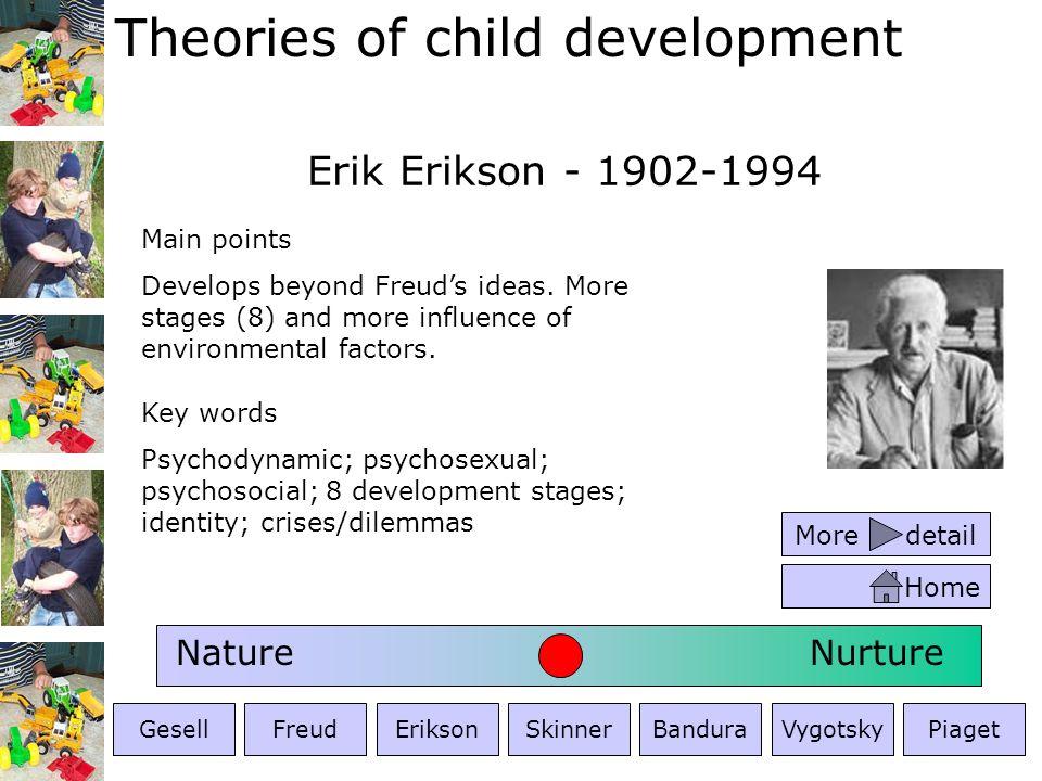 Theories of child development Erik Erikson - 1902-1994 Key words Psychodynamic; psychosexual; psychosocial; 8 development stages; identity; crises/dil