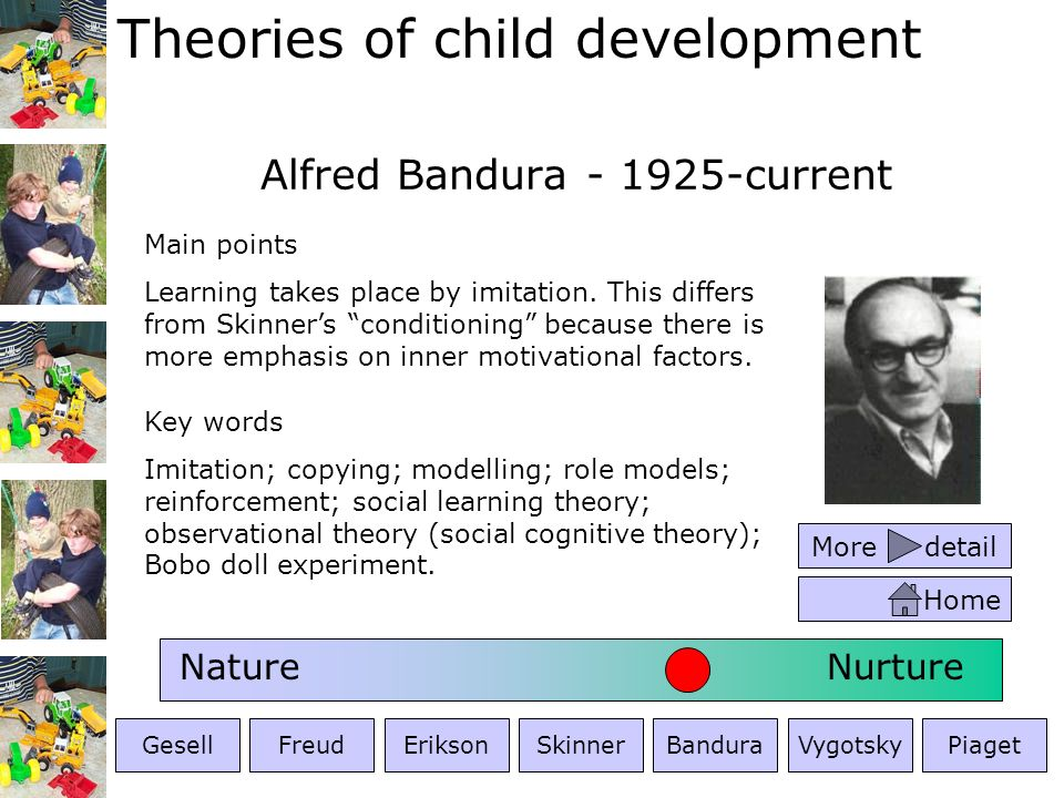 Theories of child development Lev Vygotsky - 1896-1934 Key words Zone of proximal development; zone of actual development; social constructivist; social constructivism; social interaction; language; internalisation; play; social context; cognition; constructivism Main points Development is primarily driven by language, social context and adult guidance.