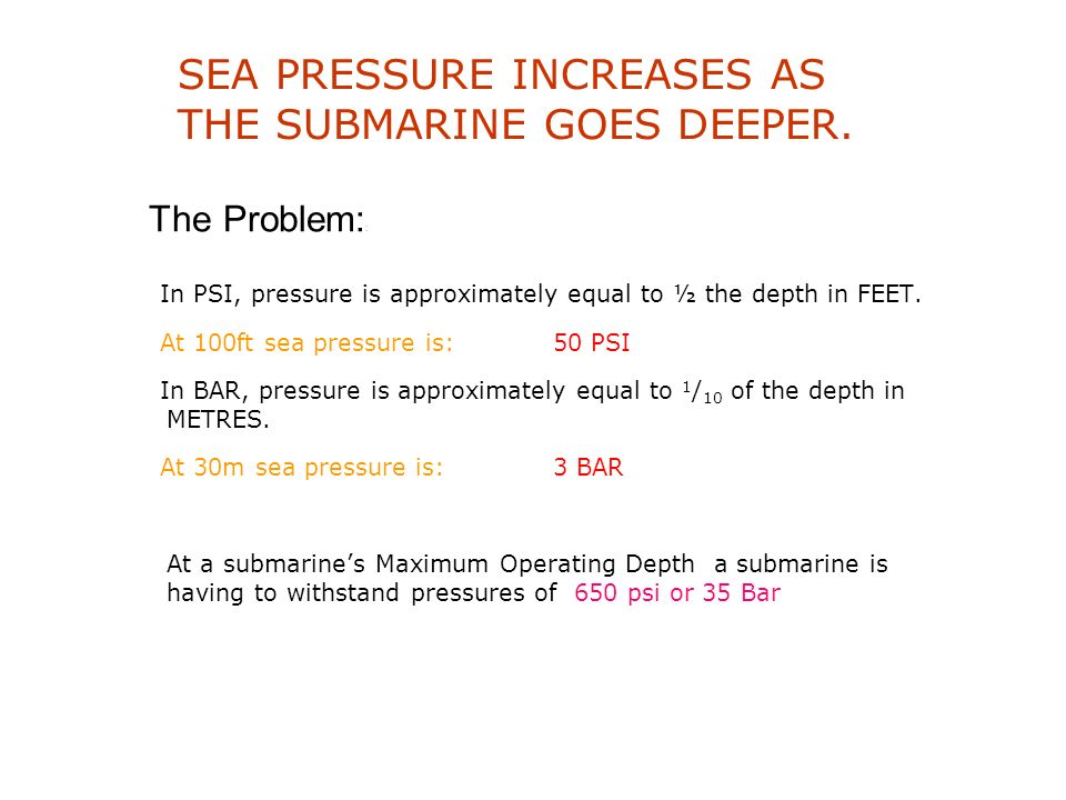 THE SUBMARINE MUST BE ABLE TO: Maintain watertight integrity Withstand pressure at depth Remain manoeuvrable Provide a stable platform to carry and fi
