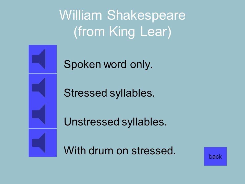 William Shakespeare (from King Lear) Spoken word only. Stressed syllables. Unstressed syllables. With drum on stressed. back