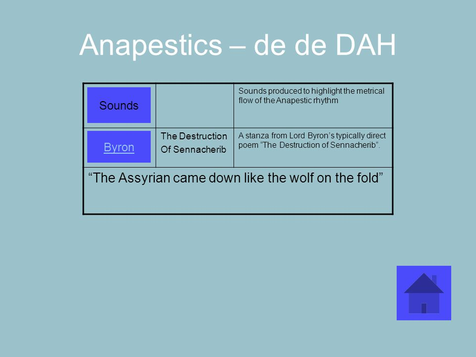 Anapestics – de de DAH Sounds produced to highlight the metrical flow of the Anapestic rhythm The Destruction Of Sennacherib A stanza from Lord Byrons