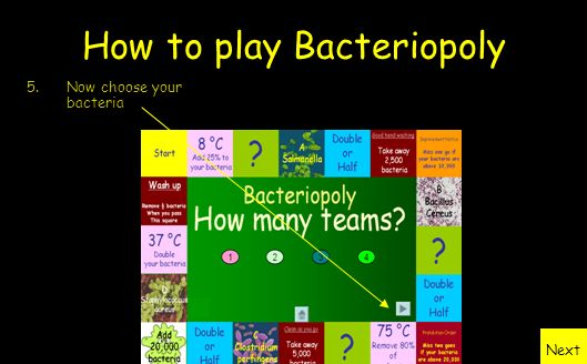 How to play Bacteriopoly 4.To start the game choose the number of teams who will be playing Next