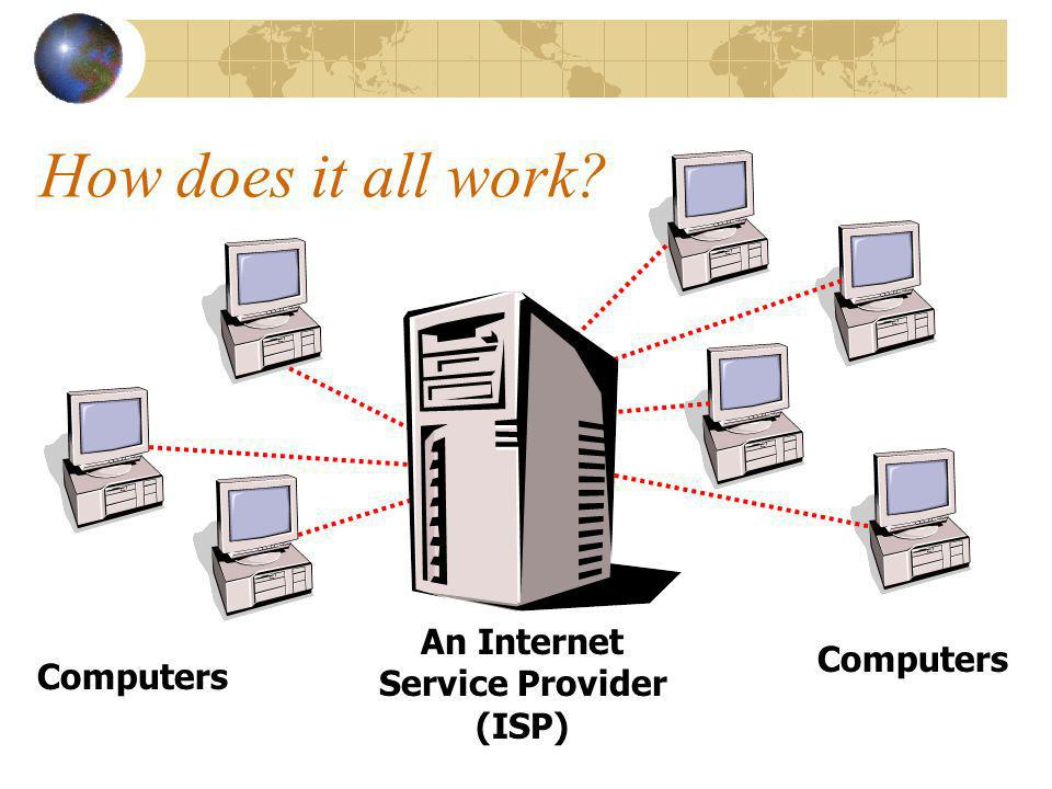 How does it all work Computers An Internet Service Provider (ISP) Computers