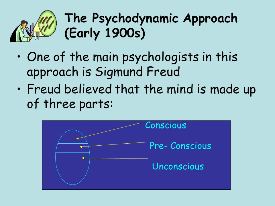 The Psychodynamic Approach (Early 1900s) One of the main psychologists in this approach is Sigmund Freud Freud believed that the mind is made up of th
