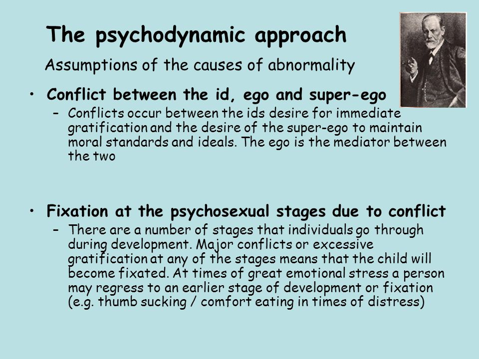 The psychodynamic approach Assumptions of the causes of abnormality Conflict between the id, ego and super-ego –Conflicts occur between the ids desire