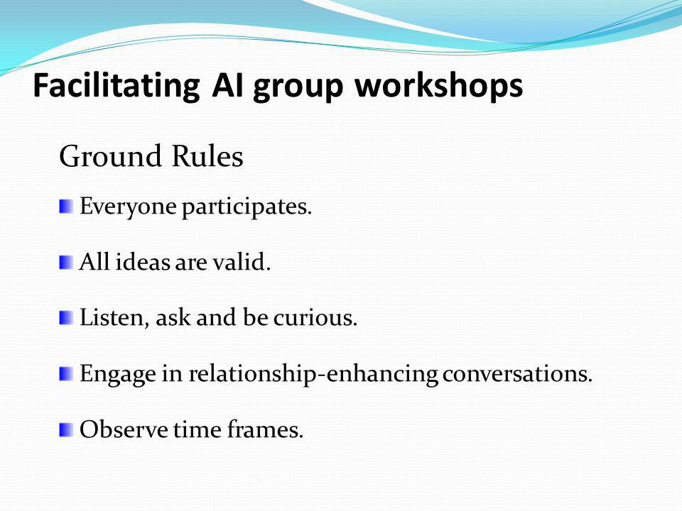Facilitating AI group workshops Ground Rules Everyone participates. All ideas are valid. Listen, ask and be curious. Engage in relationship-enhancing