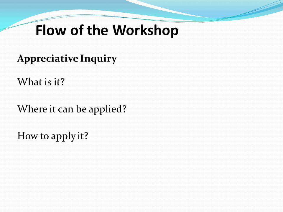 Flow of the Workshop Appreciative Inquiry What is it? Where it can be applied? How to apply it?