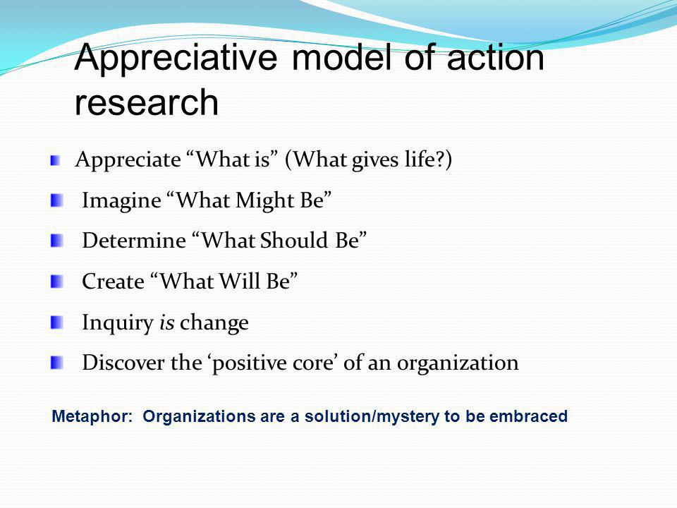 Appreciative model of action research Metaphor: Organizations are a solution/mystery to be embraced Appreciate What is (What gives life?) Imagine What