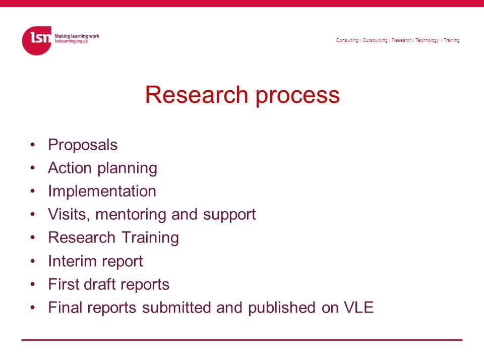 Consulting   Outsourcing   Research   Technology   Training Research methods Desk research Questionnaire Structured interviews Semi-structured interviews Focus groups Observation