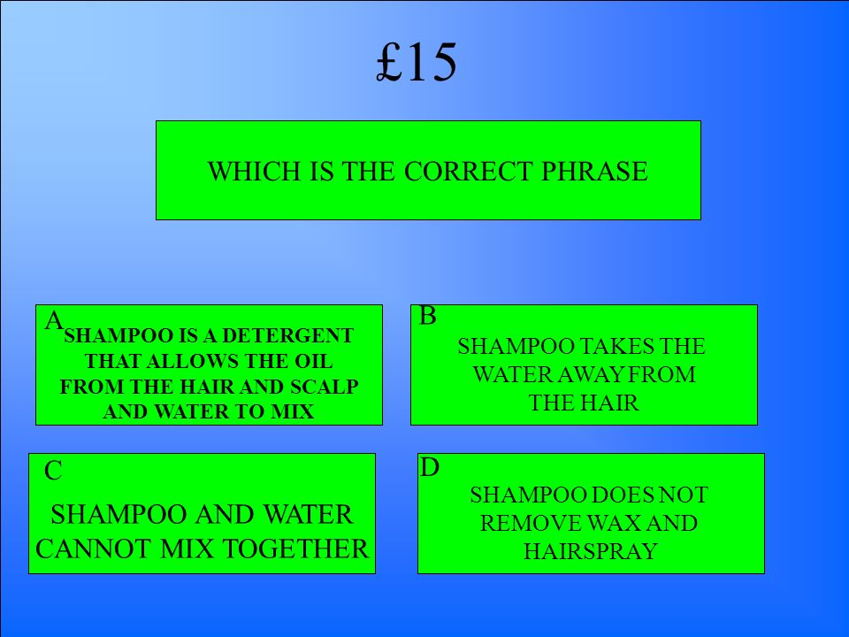 WHICH IS THE CORRECT PHRASE SHAMPOO AND WATER CANNOT MIX TOGETHER SHAMPOO IS A DETERGENT THAT ALLOWS THE OIL FROM THE HAIR AND SCALP AND WATER TO MIX