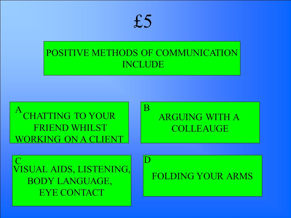 POSITIVE METHODS OF COMMUNICATION INCLUDE CHATTING TO YOUR FRIEND WHILST WORKING ON A CLIENT VISUAL AIDS, LISTENING, BODY LANGUAGE, EYE CONTACT FOLDIN