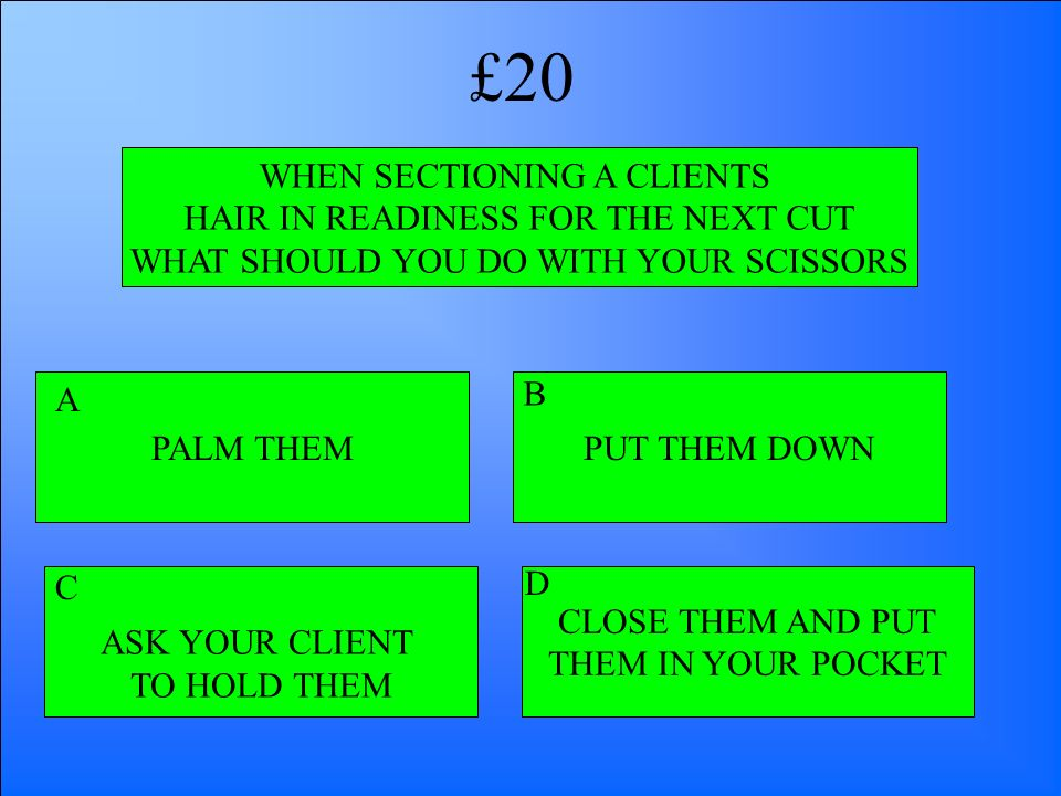 WHEN SECTIONING A CLIENTS HAIR IN READINESS FOR THE NEXT CUT WHAT SHOULD YOU DO WITH YOUR SCISSORS PALM THEM ASK YOUR CLIENT TO HOLD THEM CLOSE THEM A