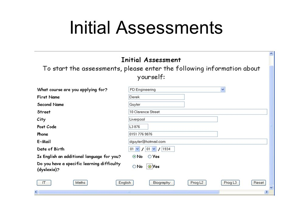 Initial Assessments