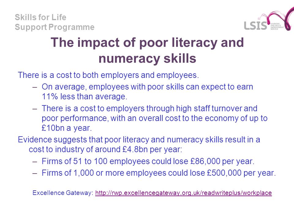 Skills for Life Support Programme The impact of poor literacy and numeracy skills There is a cost to both employers and employees.
