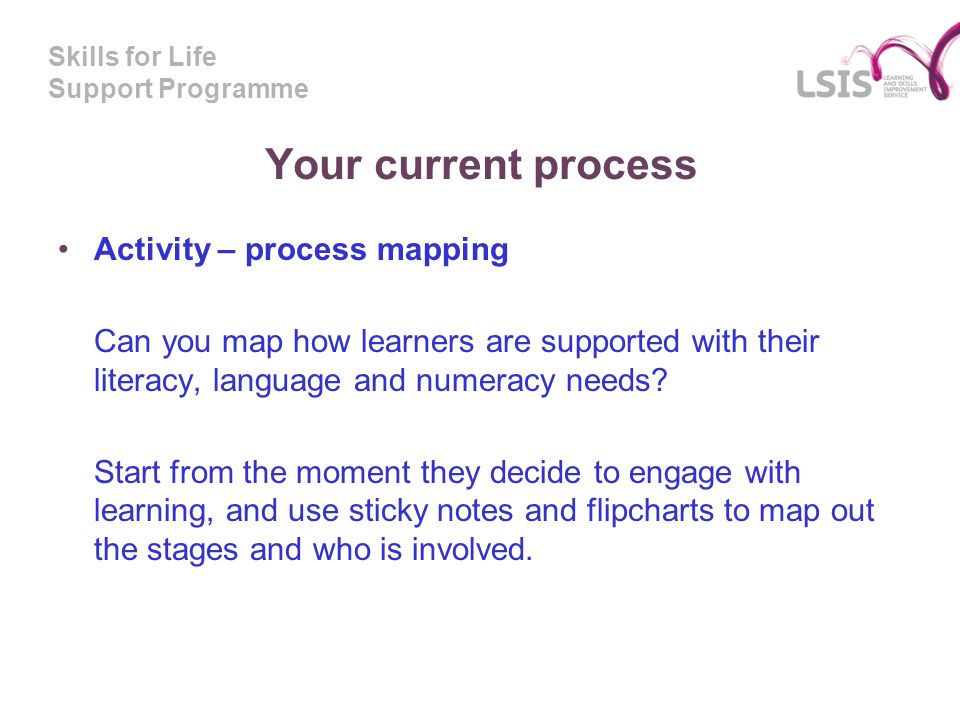 Skills for Life Support Programme Your current process Activity – process mapping Can you map how learners are supported with their literacy, language and numeracy needs.