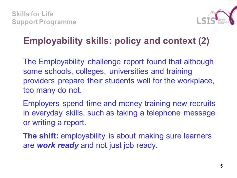Skills for Life Support Programme Employability skills: policy and context (2) The Employability challenge report found that although some schools, colleges, universities and training providers prepare their students well for the workplace, too many do not.