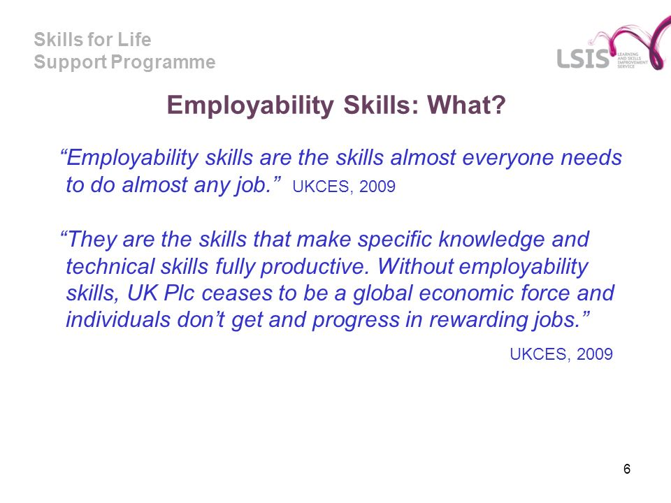 Skills for Life Support Programme Employability Skills: What.