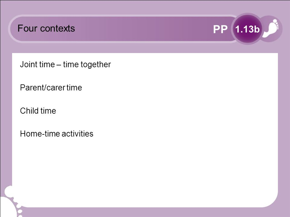 PP Four contexts Joint time – time together Parent/carer time Child time Home-time activities 1.13b