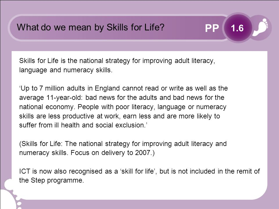 PP What do we mean by Skills for Life.