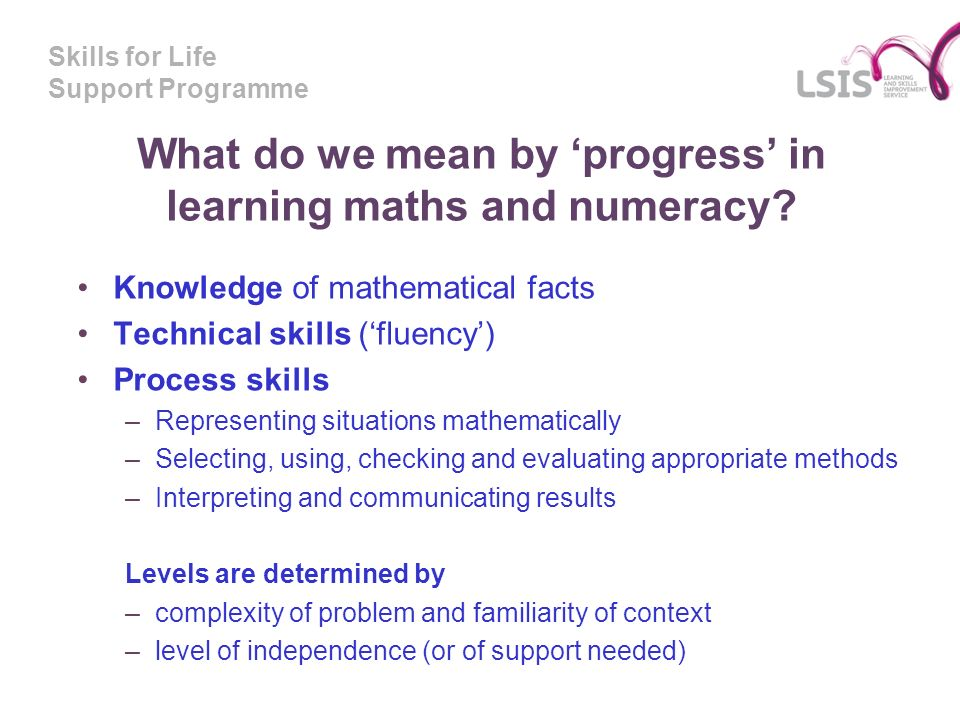 Skills for Life Support Programme What do we mean by progress in learning maths and numeracy.