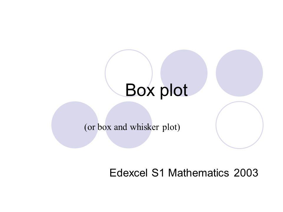 Box plot Edexcel S1 Mathematics 2003 (or box and whisker plot)