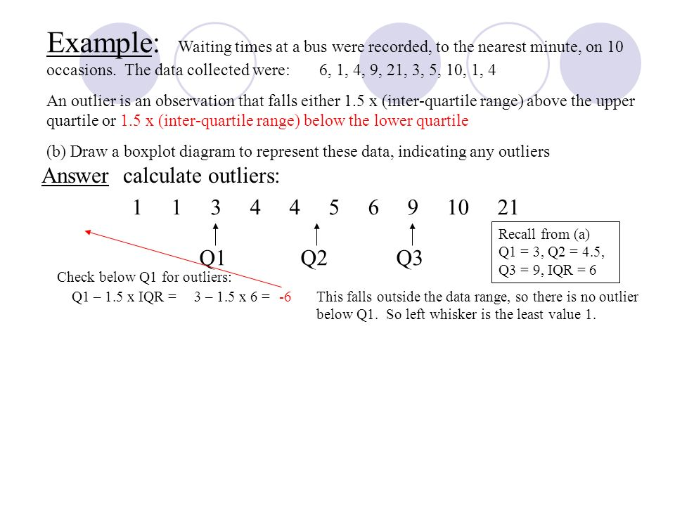 Answer calculate outliers: Recall from (a) Q1 = 3, Q2 = 4.5, Q3 = 9, IQR = 6 Q1 – 1.5 x IQR = Check below Q1 for outliers: 3 – 1.5 x 6 =-6This falls outside the data range, so there is no outlier below Q1.