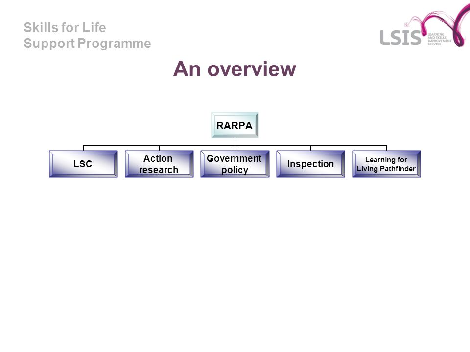 Skills for Life Support Programme An overview RARPA LSC Action research Government policy Inspection Learning for Living Pathfinder