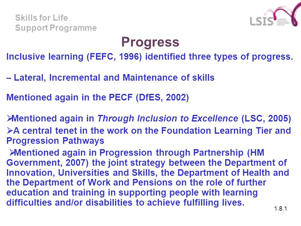 Skills for Life Support Programme Progress Inclusive learning (FEFC, 1996) identified three types of progress.