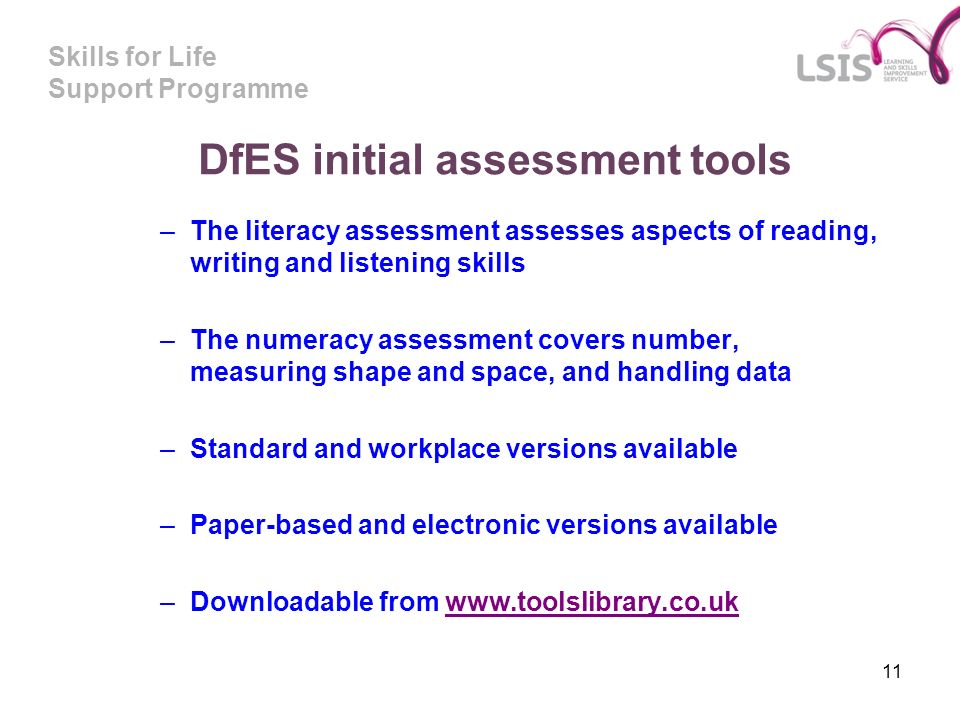 Skills for Life Support Programme 11 DfES initial assessment tools –The literacy assessment assesses aspects of reading, writing and listening skills