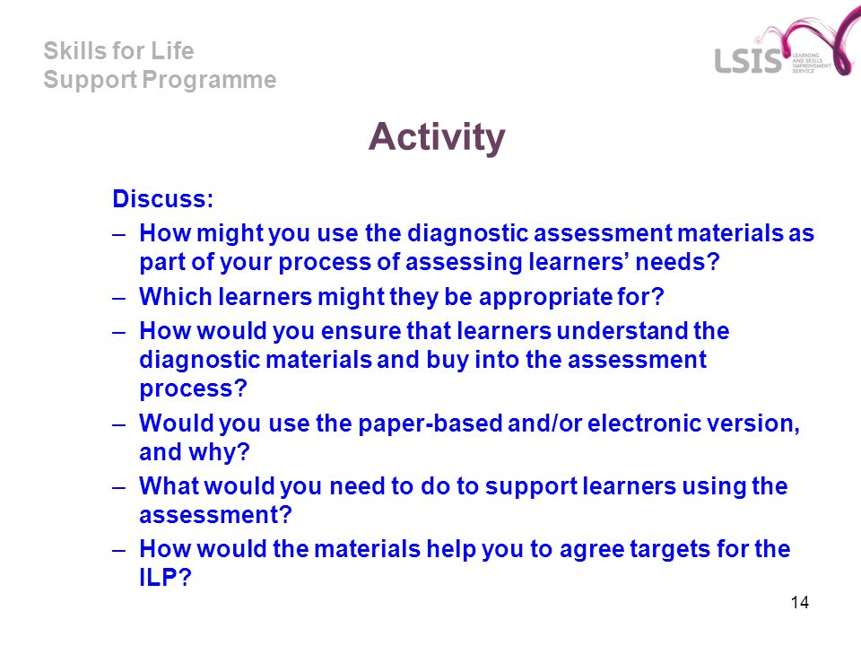 Skills for Life Support Programme 14 Activity Discuss: –How might you use the diagnostic assessment materials as part of your process of assessing lea