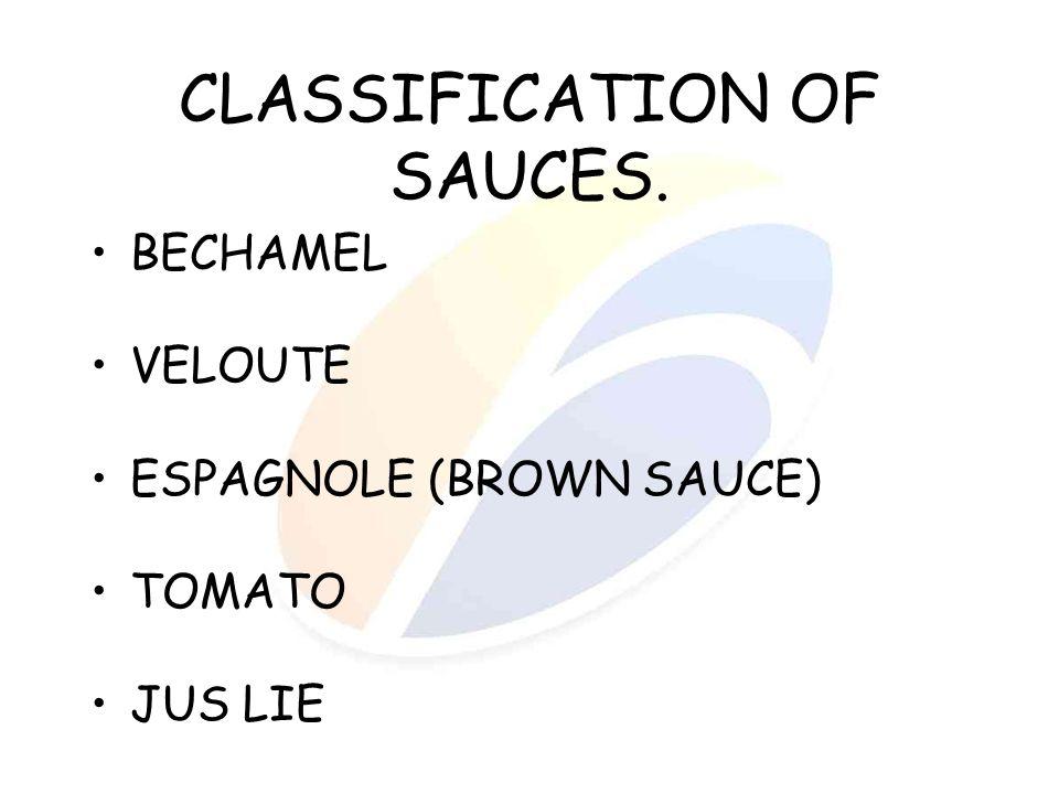 CLASSIFICATION OF SAUCES. BECHAMEL VELOUTE ESPAGNOLE (BROWN SAUCE) TOMATO JUS LIE