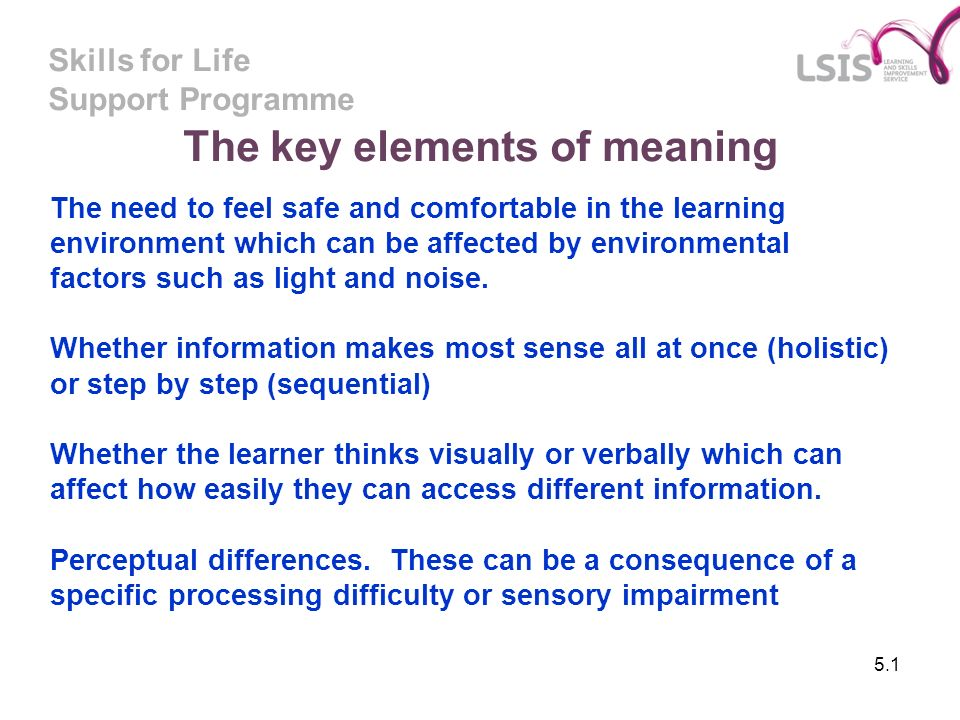 Skills for Life Support Programme The key elements of meaning 5.1 The need to feel safe and comfortable in the learning environment which can be affec